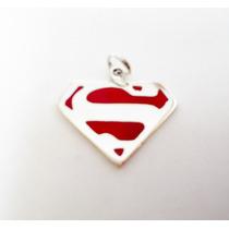 Superman Dije Logotip De Plata .925 El Relicario De Plata