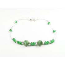 Pulsera Cadena De Plata Con Cristales Verdes Y Bolitas Multi
