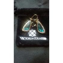 Aretes Dorados Con Cristales Verdes Victoria Zolassi