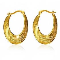 Arracadas De Acero Dorado Corte Diamante Espiral