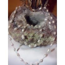 Lindo Collar Perla De Rio Engarzado Plata .925 Taxco. Op4