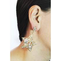 Arete Moda Largo Dorado Estrella Piedras Y Cristales Ar303