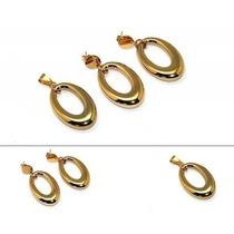 Set De 3 Piezas Aretes Y Dije Dorados Diseño Ovalo