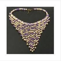 Collar Bohemio Moderno De Cuentas De Madera (púrpura)
