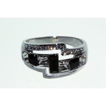 Anillo Swarovski E. Plateado Cristales Piedras Negras Ase29