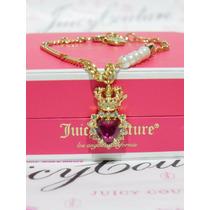 Mca.juicy Couture Collar Con Dije De Corazon Rojo Y Corona.