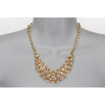 Collar Moda Dorado Cristales En Racimo Y Adornos Biselados