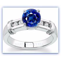Anillos Comprmiso 14kt .74ct Diamantes Y Zafiro Azul