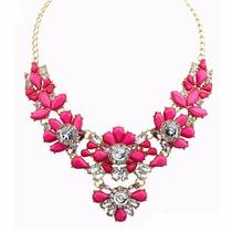 Collar De Moda Bisuteria Con Cristales De Colores Para Dama