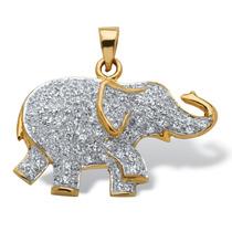 .92 Tcw Cz 18k Oro Encima Plata Elefante Colgante