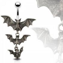 Piercing Para El Ombligo Diseño Gotico Murcielagos
