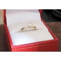 Anillo De Compromiso Oro 14k Diamante Natural 0.35 Cts