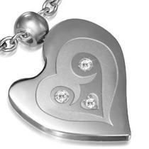 Dije De Acero Inox Diseño Corazon Amorfo Con Zirconias