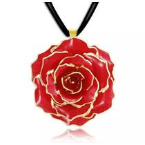 Hermosa Flor Real Conservada Con Baño De Oro 24k Collar!!