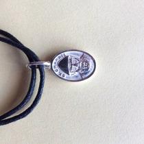Pulsera Dije Medalla 2 En 1 San Charbel Y San Benito Plata