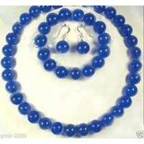 Collar Jade Azul Set Collar Y Pulsera 100% Natural 10mm