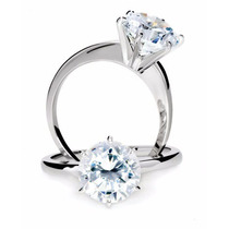 Anillo De Compromiso Oro Blanco Laminado 24k, Diamante 50pts