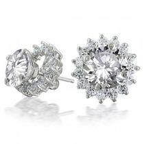 Aros Plateados Bling Jewelry Cz Flor De Cristales Con Centro