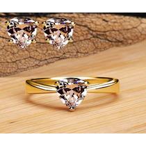 Anillo Y Aretes Diamantes Corazón Compromiso Oro 10k Macizo