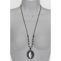 Collar Moda Negro Colgante Piedra Acrilico Y Perlas Negras