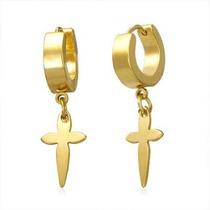 Arracadas De Acero Inoxidable Dorado Diseño Cruz Colgante