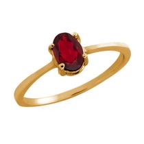 0.50 Ct Oval Ruby Red Mystic Topaz 14k Anillo Oro Amarillo