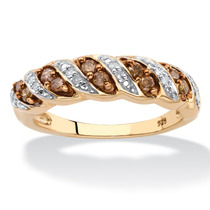 1/4 Tcw Enhanced Champagne And White Diamond Ring-tamaño 6
