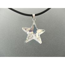 Dije De Estrella De Cristal Grande Con Plata Ley 0.925