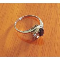 Elegante Anillo Oro 14k, Granate Natural Y Circonia Sz 7