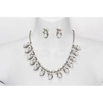 Conjunto Elegante Plateado Perlas Collar Y Aretes Ce17