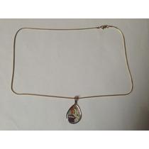 Collar Cola De Ratón Medalla De Vitral Providencia Oro 14 K
