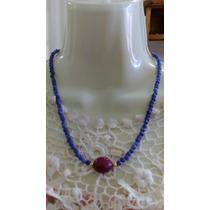 Collar De Zafiros Naturales Lisos Con Centro De Rubi