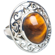 Tiger Eye, Ojo De Tigre 925 Plata Ring 7.25