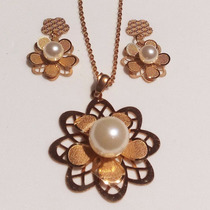 Regalo Mamá Novia Esposa Hermoso Collar + Aretes Perla Oro B