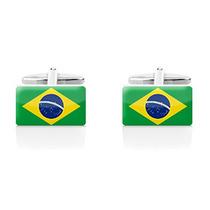 Mancuernillas Bandera Brasil Acero Inoxidable Camisa