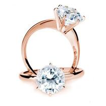 Anillo De Compromiso En Oro Rosa 10k Macizo Diamante Ruso