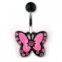 Piercing En El Ombligo Diseño Mariposa Pink Luxury