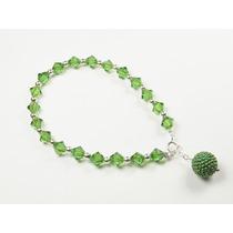 Pulsera C/ Plata Y Cristales Verdes Dije Multiperla
