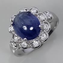 Aaaa Anillo Zafiro Azul # 8.5 Plata 925 27qt 10x9mm Lote Czo