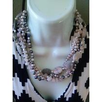 Collar De Perlas Cultivadas, Jaspe Y Cuarzo Rosa En 4 Hilos