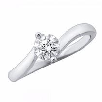 Anillo De Compromiso Oro Blanco 14 Kilates Diamante 23 Pts