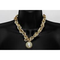 Collar Moda Dorado Eslabones Y Colgante De Perla
