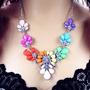 Collares Bisuteria Moda Asia Perlas, Dorado, Cristales, Azul