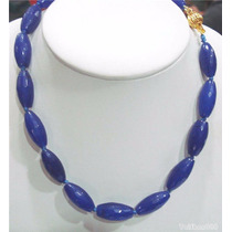 Collar De Jade Azul Facetado 100% Natural 10x22mm 45cm