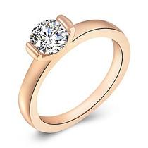 Anillo De Compromiso Con Diamante Creado .oro Rosa 18k Rgp.