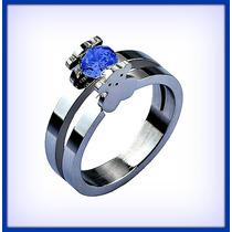 Tous Anillo Compromiso Promesa Oro14k Zafiro Azul Un Quilate