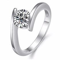 Anillo Compromiso Oro Blanco Laminado 24k Con Diamante 30pts