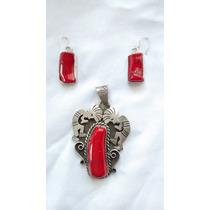Juego De Dije Y Aretes Plata Con Coral Rojo