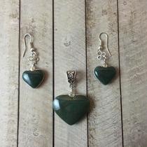 Jade Verde Jaguar, Dije (plata) Y Aretes De Corazon