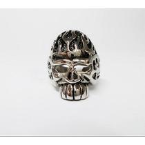 Anillo Fire Skull En Acero Inoxidable Tallas 8, 9 Y 10